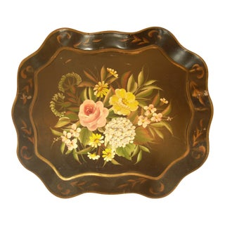 Vintage Black Floral Tray
