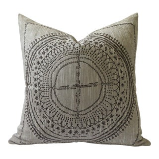Woven Boho Henna Compass Pillow Cover