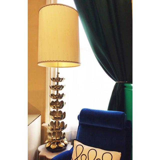 Image of Vintage Brass Lotus Lamp Attributed to Feldman