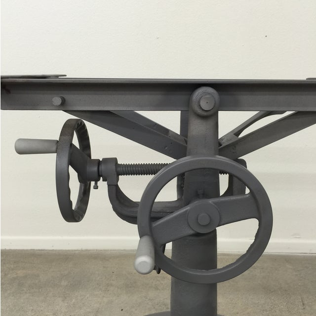 Industrial Crank Table With Zinc Top - Image 7 of 8