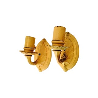 Vintage Yellow Art Deco Wall Sconces - A Pair