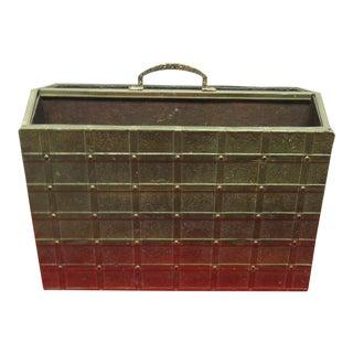 Vintage Brass Hammered Gothic Magazine Rack Stand Box