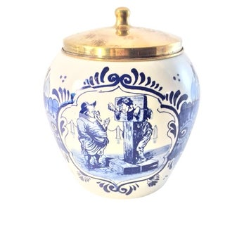 Hand Painted Delft Blue & White Porcelain Jar