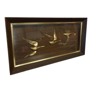 Mid-Century Framed Brass & Wood Flying Geese