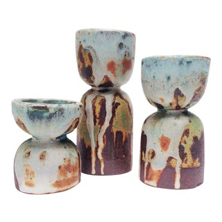 Hand-Built Stoneware Candle Holders- Set of 3