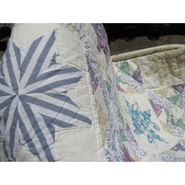 Vintage Feedsack Star Quilt - Image 3 of 8