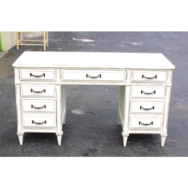 Mid-Century White Desk - Image 7 of 7