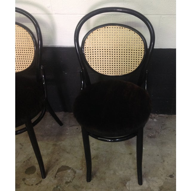 Cane Back Bentwood Chairs With Cowhide Seats - Image 8 of 8