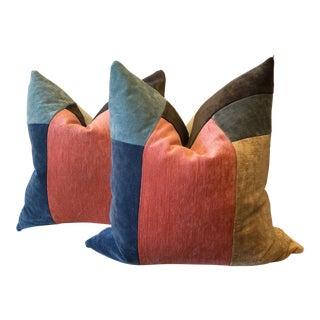 Collaged Velvet Pillows - A Pair