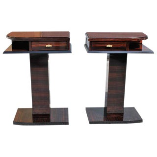 Beautiful Pair Of French Art Deco Macassar Ebony Side Tables Circa 1940s