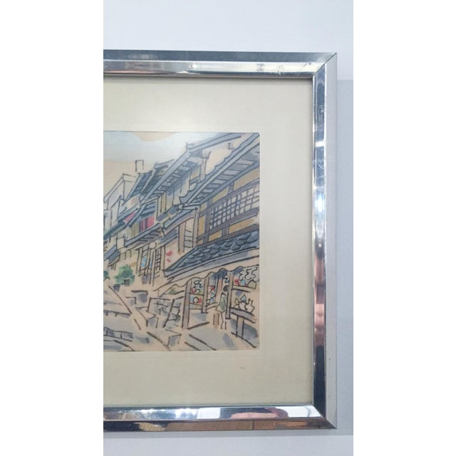 Mid Century Asian Framed Silk Prints - Pair - Image 5 of 8