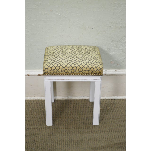 Mid Century Pair of Custom Painted Square Stools Benches - Image 6 of 11