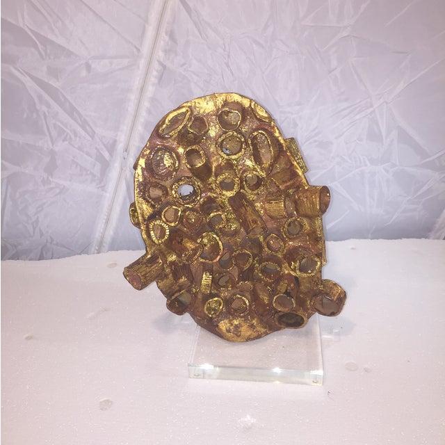 Midcentury Terra-Cotta and Gold Leaf Sculpture - Image 2 of 8