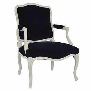 Navy Velvet French-Style Armchair