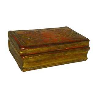 Italian Florentine Borghese Leather Book Trinket Box