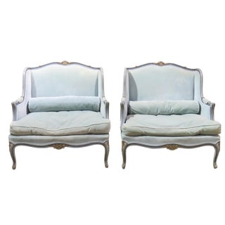 Louis XVI Style Turqoise Painted & Gilt Burgers - A Pair