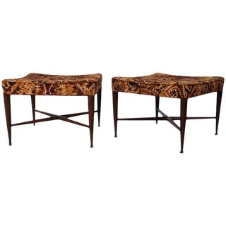Pair of Thebes Stools by Edward Wormley for Dunbar