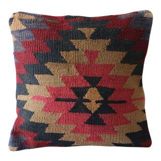 "Turkish Vintage Decorative Handmade Kilim Pillow - 16"" x 16"""