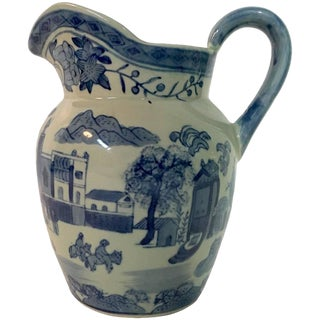 19th Century Asia Blue and White Ceramic Beverage Pitcher