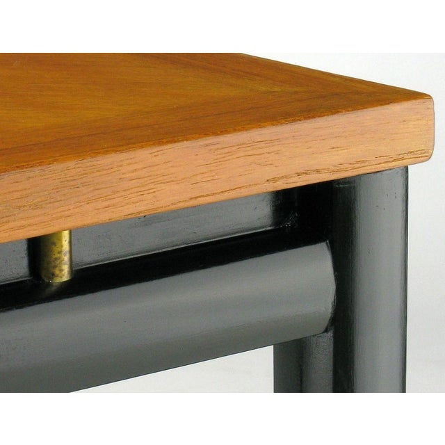 Pair Michael Taylor Bleached Mahogany & Black Lacquer End Tables - Image 5 of 6