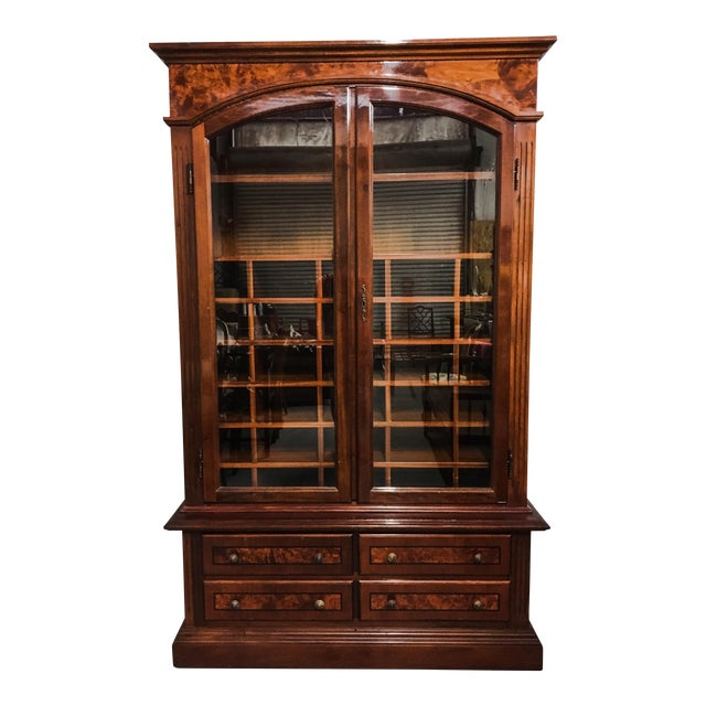 1950s english burl wood gentlemen 39 s armoire chairish. Black Bedroom Furniture Sets. Home Design Ideas