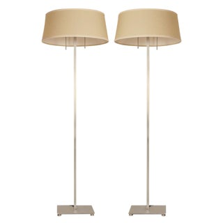 T.H. Robsjohn-Gibbings for Hansen Satin Steel Floor Lamps - a Pair