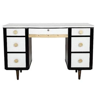Black & White Color-Blocked Desk With Brass Details