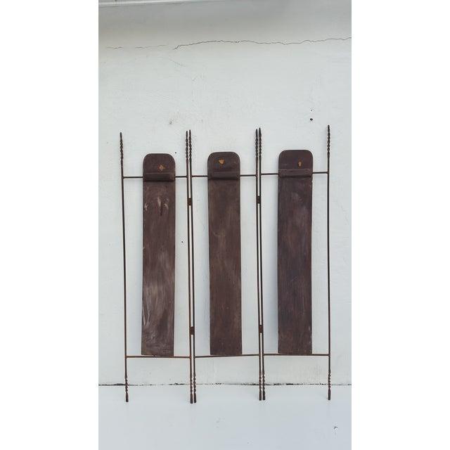 Vintage Metal & Carved Wood Panels Room Divider Screen - Image 4 of 9