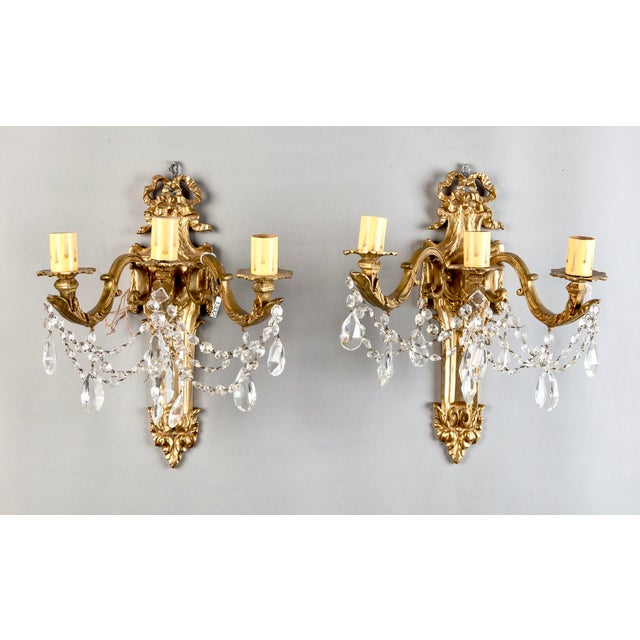 Pair of Large French Brass and Crystal Three Light Sconces - Image 2 of 7