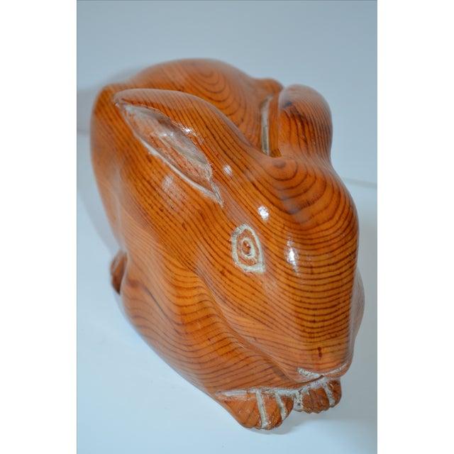Sarreid Vintage Hand Carved Wooden Rabbit - Image 7 of 8