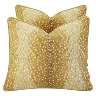 Custom-Tailored Antelope Fawn Spot Velvet Feather/Down Pillows - Pair