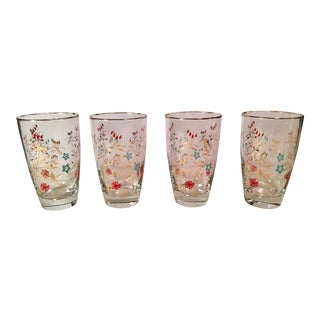Mid-Century Gold Trim Tumblers - Set of 4