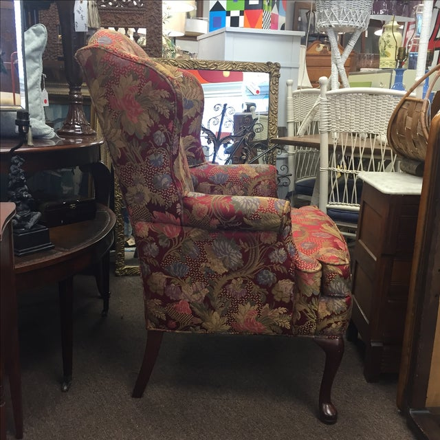 Red Floral Wing Back Chairs - A Pair - Image 3 of 7