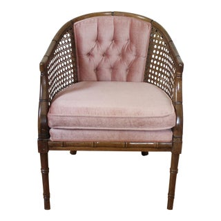 Mid Century Cane & Blush Velvet Barrel Back Chair Vintage