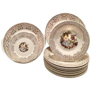 1940's 22-Karat Gold American Limoges Dinnerware - Set of 13