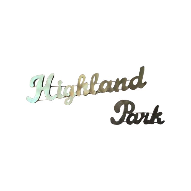 Industrial Gold Highland Park Metal Sign - Image 1 of 4
