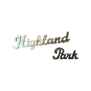 Industrial Gold Highland Park Metal Sign