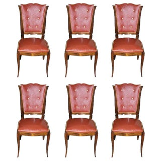 Classic Set Of Six French Art Deco Mahogany Dining Chairs Circa 1940s