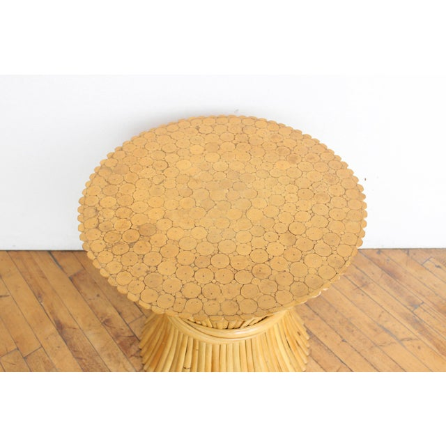 McGuire Wheat Sheaf Side Table- Rattan and Bamboo End Table - Image 2 of 6