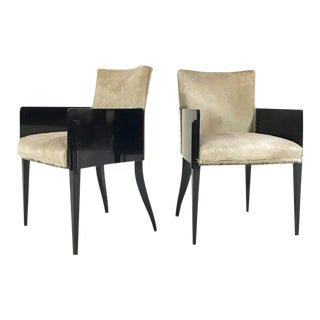 Forsyth One of a Kind Black Lacquered Art Deco Armchairs in Brazilian Cowhide - Pair