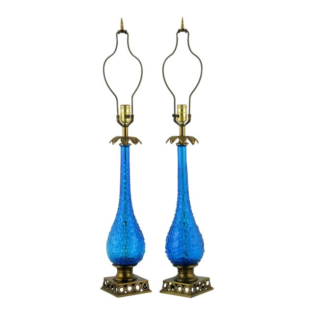 Image of Pair Bubble Textured Blue Glass Table Lamps With Brass Accents