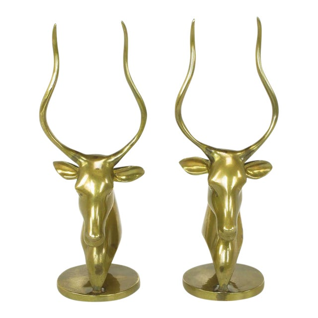 Pair Brass Antelope Sculptures - Image 1 of 9