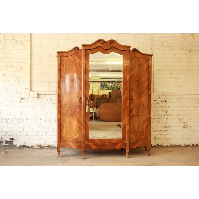1870's Burled and Inlaid French Knockdown Wardrobe - Image 2 of 11