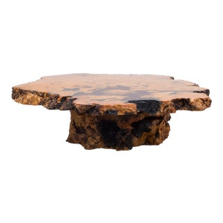 A Californian Redwood Coffee Table with Amber Inlay 1960s