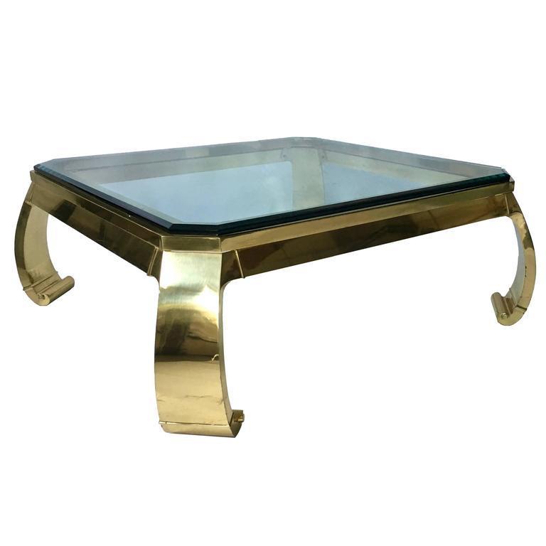 1970s Karl Springer Asian Inspired Brass U0026 Glass Coffee Table