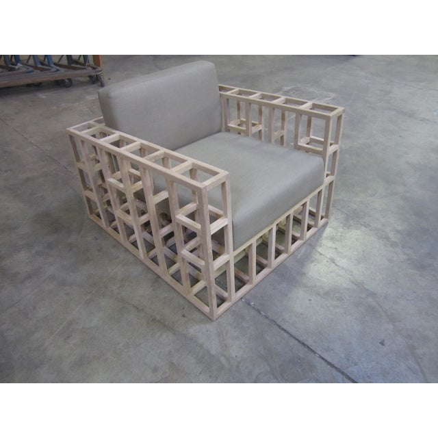 Oak Grid Accent Chair - Image 2 of 5