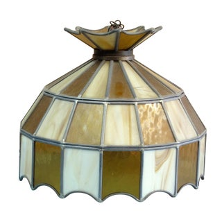 Mid-Century Stained-Glass Swag Chandelier