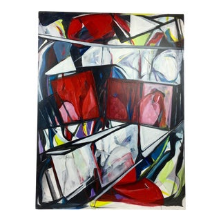 "Deon Robertson ""Squared Off"" Abstract Oil on Canvas Painting"
