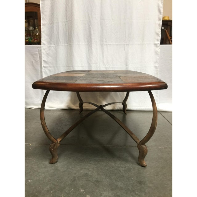 Traditional Slate Wood Iron Coffee Table Chairish