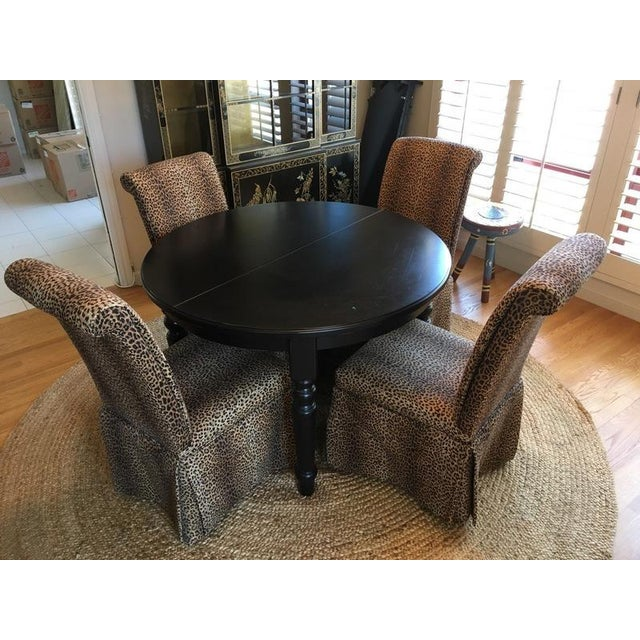 Group of Four Leopard Print Upholstered Side Chairs & Table - Image 2 of 9